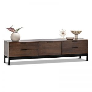 Macy Oak Entertainment Unit | Walnut & Black