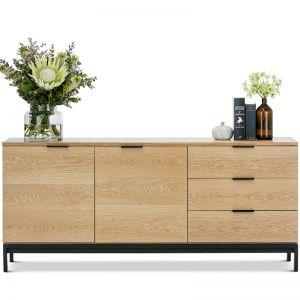 Macy Oak Sideboard Buffet | Natural & Black