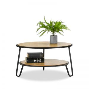 Macy Round 2 Tier Oak Coffee Table | Black