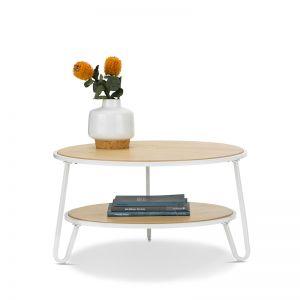 Macy Round 2 Tier Oak Coffee Table | White