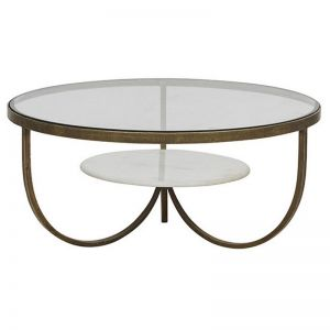 Madeline Curve Coffee Table | Antique Brass
