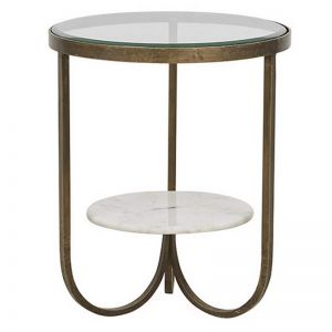 Madeline Curve Side Table | Antique Brass