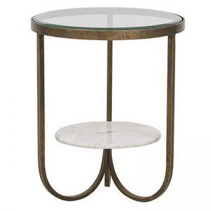 Madeline Curve Side Table | Antique Brass