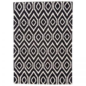Madras Handmade Flat Weave Rug   Black & White