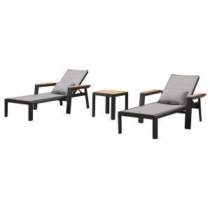 Madrid 3 Piece Chaise Lounge Set | Charcoal