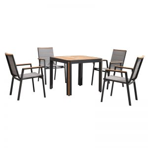 Madrid 5 Piece Dining Set | Charcoal