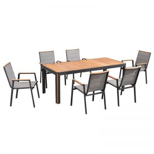 Madrid 7 Piece Dining Set | Charcoal
