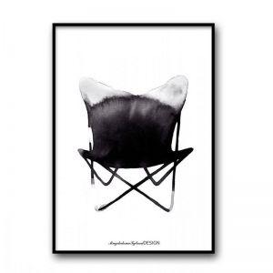 Magdalena Tyboni   Butterfly Chair Art Print   50x70cm