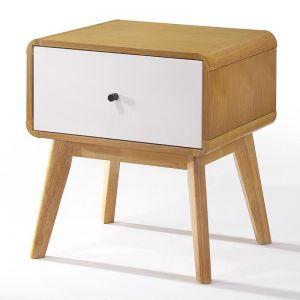 Magni Bedside Table | Oak + White | Modern Furniture