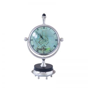 Magnified Maritime Clock   Black Base Aluminum Nickel