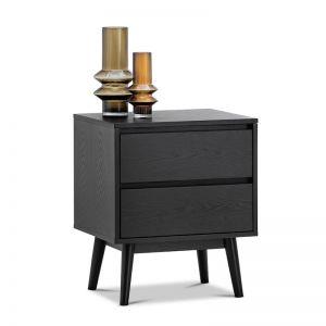 Maison 2 Drawer Bedside Table | Black Oak