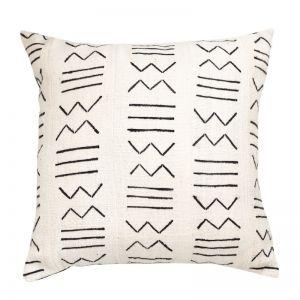 Mali Mud Cloth Cushion Cover | White | by Raw Decor