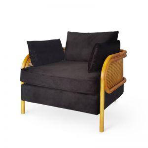 Malibu Upholstered and Rattan Club Chair   Black   by Black Mango