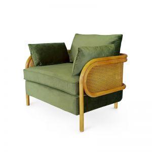 Malibu Upholstered and Rattan Club Chair | Olive | by Black Mango