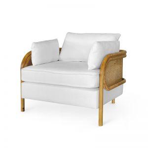Malibu Upholstered and Rattan Club Chair | White | by Black Mango