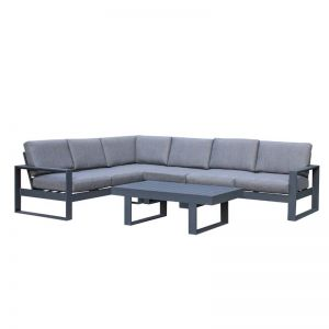 Manly 5-Piece Aluminium Outdoor Modular Lounge Setting — Charcoal