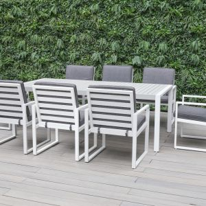 Manly 9-Piece Aluminium Outdoor Dining Setting — White