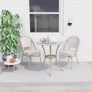 Manolo White Outdoor Bistro Set | 2 Seater