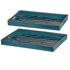 Marbled Blue Trays | Set of 2