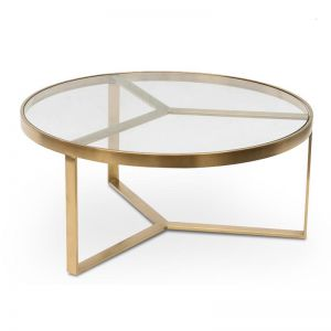Marcelo 90cm Coffee Table | Brushed Gold Base