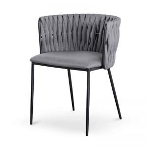 Marci Fabric Dining Chair | Coin Grey with Black Legs