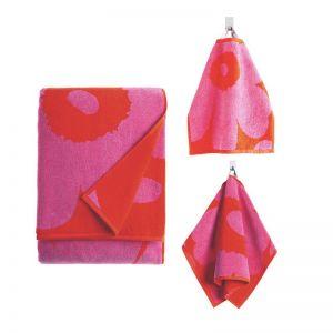Marimekko Unikko Red & Pink Mixed Towel Set