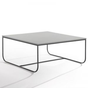 Marit Coffee Table | 90cm | Light Grey + Black Metal | Modern Furniture