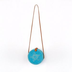 Marley Rattan Bag 20cm | Blue | by Black Mango