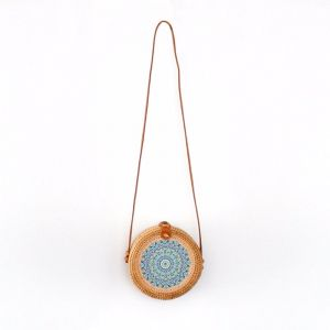 Marley Rattan Bag 20cm | Pattern Inlay | by Black Mango