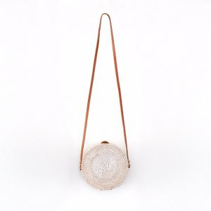 Marley Rattan Bag 20cm | White Wash | by Black Mango
