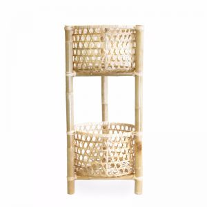 Marley Rattan & Bamboo 2 Tier Plant Stand | Natural | by Black Mango