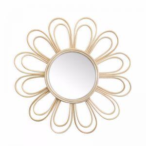 Marley Rattan Daisy Flower Mirror 60cm | Natural | by Black Mango