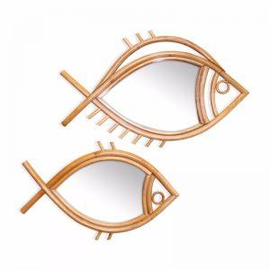 Marley Rattan Fish Mirror | Set of 2 | Natural | by Black Mango