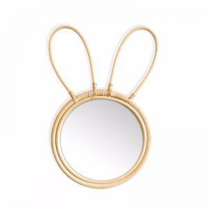 Marley Rattan Rabbit Mirror | Natural | by Black Mango