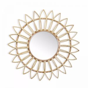 Marley Rattan Sunflower Mirror 60cm | Natural | by Black Mango