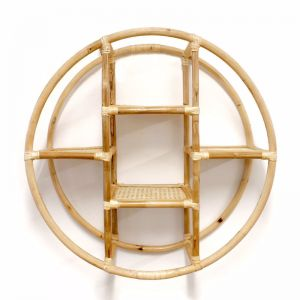 Marley Round Rattan Hanging Shelf 70cm | Natural | by Black Mango