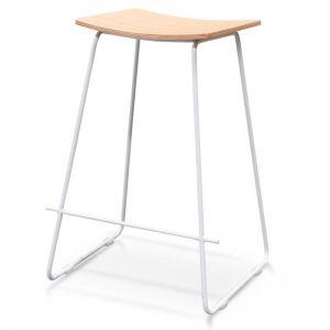 Marley Timber Seat Bar Stool | Natural Seat, White Frame | Interior Secrets