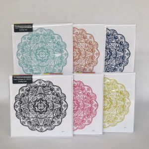Marrakesh Decor Mandala Frame It Designer Greeting Gift Cards | 6 Pack | 155x155mm