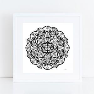 Marrakesh Décor Mandala in Black Art Print by Pick a Pear   Framed