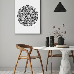 Marrakesh Décor Mandala in Black Art Print by Pick a Pear | Framed