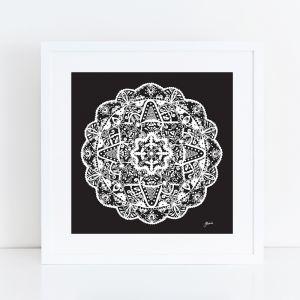 Marrakesh Décor Mandala in Black Solid Art Print by Pick a Pear   Framed