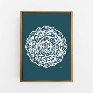 Marrakesh Decor Mandala in Dark Teal Solid Wall Art Print   by Pick a Pear   Canvas