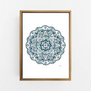 Marrakesh Decor  Mandala in Dark Teal Wall Art Print   by Pick a Pear   Canvas