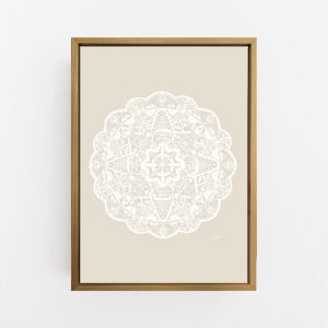 Marrakesh Decor Mandala in Ivory Solid | By Pick a Pear | Canvas Print