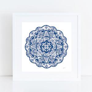 Marrakesh Décor Mandala in Navy Blue Art Print by Pick a Pear | Framed