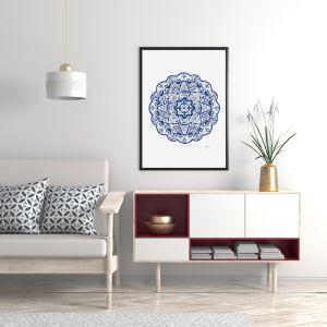Marrakesh Décor Mandala in Navy Blue Fine Art Print | By Pick a Pear | Framed