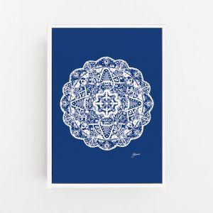 Marrakesh Decor Mandala in Navy Solid   By Pick a Pear   Canvas Print
