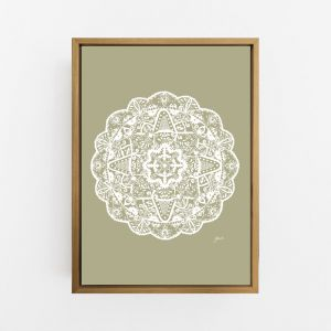 Marrakesh Decor Mandala in Sage Solid Wall Art Print | by Pick a Pear | Canvas