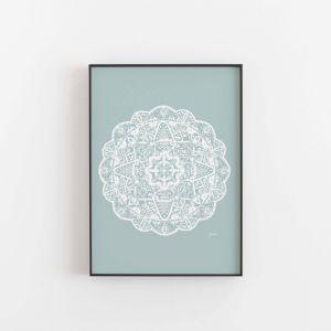 Marrakesh Decor Mandala in Solid Haze Wall Art Print | By Pick a Pear | Unframed