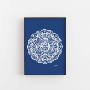 Marrakesh Decor Mandala in Solid Navy Wall Art Print by Pick a Pear   Unframed